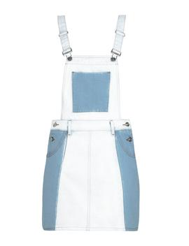 Contrast Denim Patchwork Denim Pinafore by Boohoo