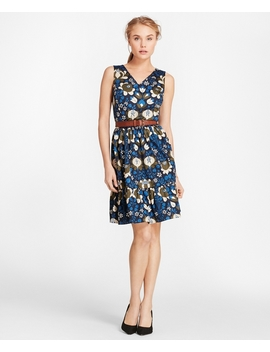 Floral Print Cotton Sateen Flounce Hem Dress by Brooks Brothers