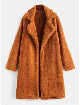 Lapel Collar Plain Faux Fur Teddy Coat   Light Brown M by Zaful