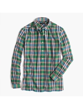 J. Crew Gathered Popover In Vintage Green Plaid by J. Crew