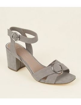 Wide Fit Grey Suedette Ring Cross Strap Sandals by New Look