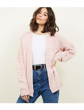 Cameo Rose Pink Heart Bobble Cardigan by New Look