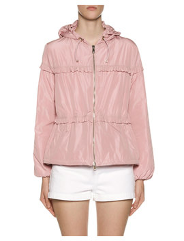 Prague Hooded Ruffle Trim Jacket by Moncler