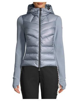 Combo Jacket W/ Fleece Knit & Chevron Quilted Front by Moncler Grenoble
