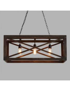 Rectangular Gray Wood 3 Light Valencia Chandelier by World Market