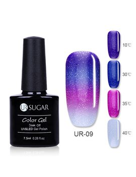 Ur Sugar Thermal Ultra Thin Glitter 3 Colors Soak Off Uv Gel Color Chaging Snowflake Temperature Color Change Gel Nail Art Gel by Ur Sugar