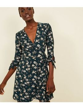 Blue Vanilla Green Floral Tie Sleeve Wrap Dress by New Look