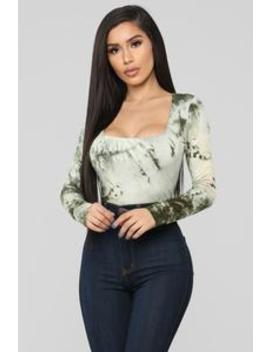 Anything But Square Long Sleeve Bodysuit   Green/Combo by Fashion Nova