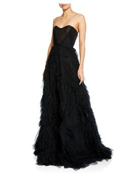 Strapless Textured Tulle A Line Gown W/ Corset Bodice by Marchesa Notte