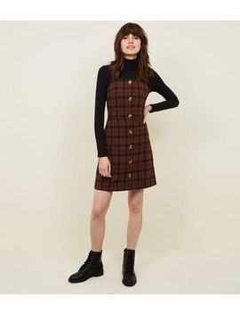 Brown Check Button Front Pinafore Dress by New Look