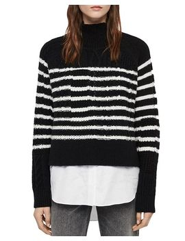 Mari Striped Layered Look Sweater by Allsaints