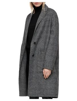 Anya Oversized Houndstooth Coat by Allsaints
