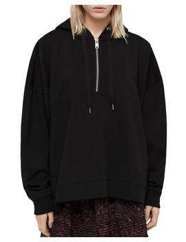 Bella Zip Detail Hooded Sweatshirt by Allsaints