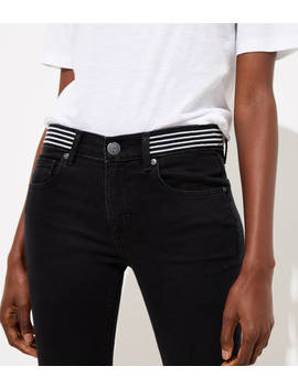 Modern Striped Waist Skinny Jeans In Washed Black by Loft