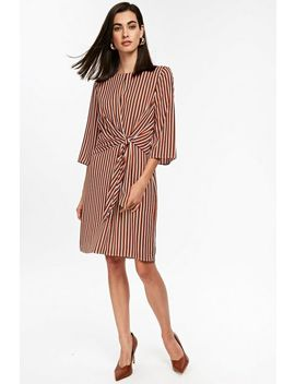 Rust Striped Knot Front Shift Dress by Wallis