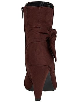 Burgundy Faux Suede Heeled Ankle Boots by Asda