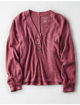 Ae Oversized Waffle Plush Henley Top by American Eagle Outfitters