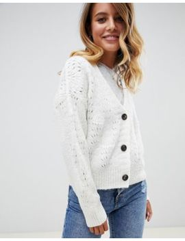 Asos Design Chunky Cardigan With Pointelle Stitch by Asos Design