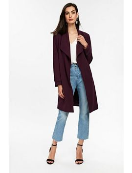 Berry Lined Envelope Collar Duster Jacket by Wallis