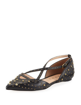 Lexi Studded Cross Strap Flats by Carrano