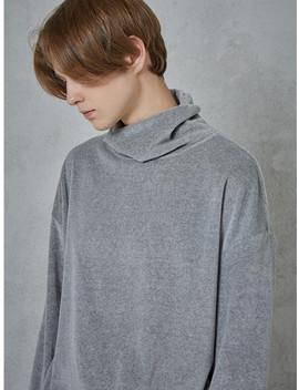 Velvet Mockneck T Shirts Grey by Owl91