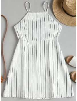 Drawstring Striped Open Back Mini Dress   White L by Zaful