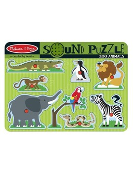 Melissa & Doug Zoo Animals Sound Puzzle   Wooden Peg Puzzle With Sound Effects 8pc by Melissa & Doug
