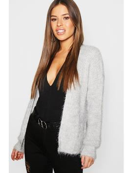 Petite Feather Knit Slouchy Cardigan by Boohoo