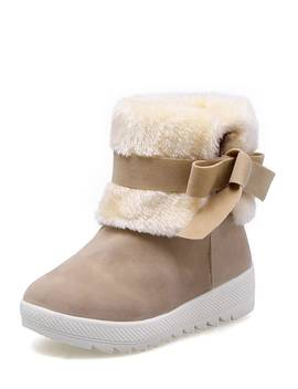 Contrast Faux Fur Bow Boots by Romwe