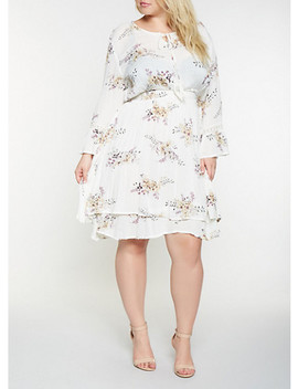 Plus Size Floral Gauze Knit Skater Dress by Rainbow