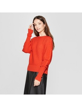 Women's Long Leg Of Mutton Sleeve Pullover Sweater   Prologue™ Orange by Prologue