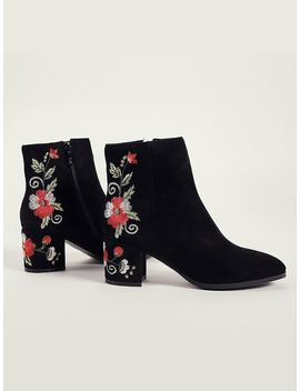 Floral Embroidered Side Zip Suede Boots by Romwe