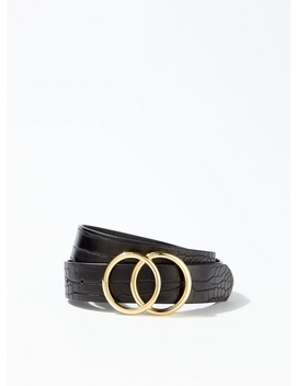 Black Crocodile Design Circle Belt by Miss Selfridge