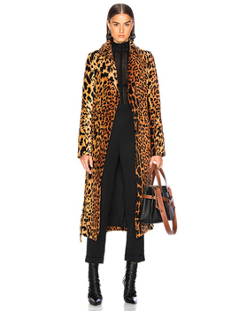 Tiger Chenille Jacquard Split Sleeve Fitted Coat by Victoria Beckham