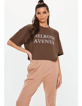 Brown Melrose Avenue Slogan Crop T Shirt by Missguided
