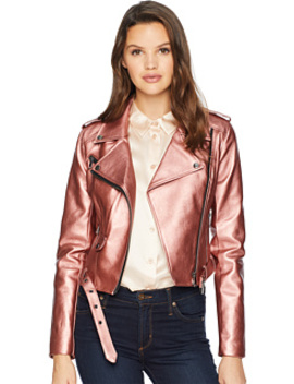 Shiny Faux Leather Biker Jacket by Romeo & Juliet Couture