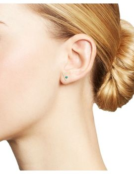 14 K Yellow Gold Turquoise & Bar Stud Earrings by Zoë Chicco