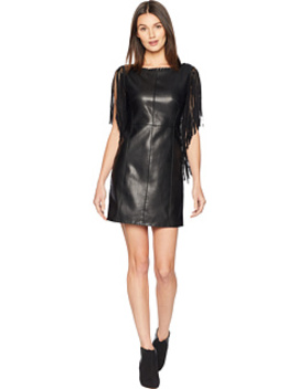 Fringe Sleeve Faux Leather Dress by Romeo & Juliet Couture