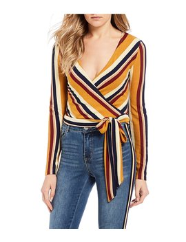 Striped Wrap V Neck Waist Tie Top by Gb