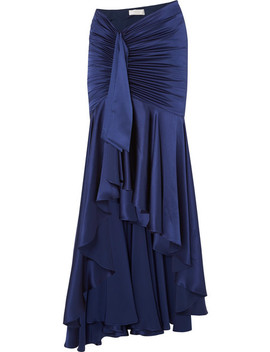 Elise Ruched Draped Silk Satin Maxi Skirt by Caroline Constas