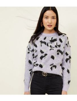 Lilac Fluffy Leopard Print Jumper by New Look