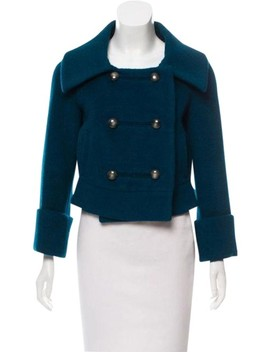 Blue Wool Blend Lady Bird Double Breasted Jacket Blazer by Diane Von Furstenberg