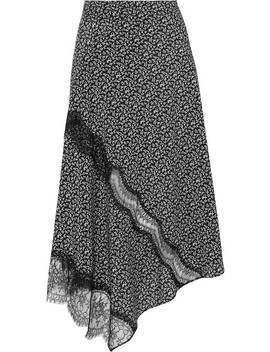 Templer Lace Trimmed Printed Silk Crepe De Chine Midi Skirt by Joseph