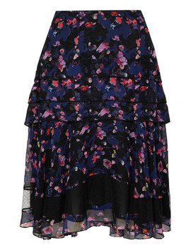 Tiered Floral Print Silk Chiffon Skirt by Jason Wu