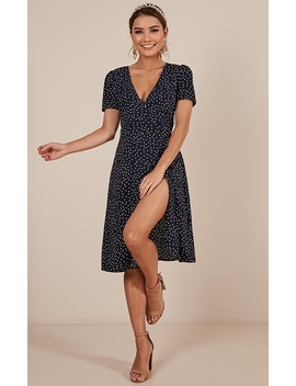 Great Insight Dress In Navy Spot by Showpo Fashion