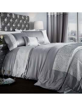 Catherine Lansfield Luxor Silver Duvet Cover And Pillowcase Set by Dunelm