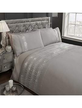 Carly Grey Duvet Cover And Pillowcase Set by Dunelm
