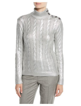 Turtleneck Long Sleeve Metallic Knit Sweater With Button Shoulder by Ralph Lauren Collection