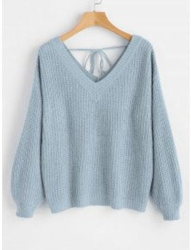 V Neck Drop Shoulder Oversized Sweater   Light Blue M by Zaful