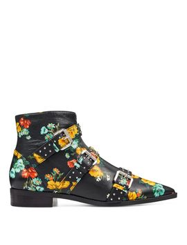 Seraphim Pointy Toe Booties   Black Floral Faux Leather by Nine West